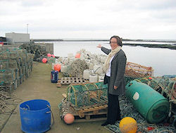 Anne-Marie at the seawall in Seahouses