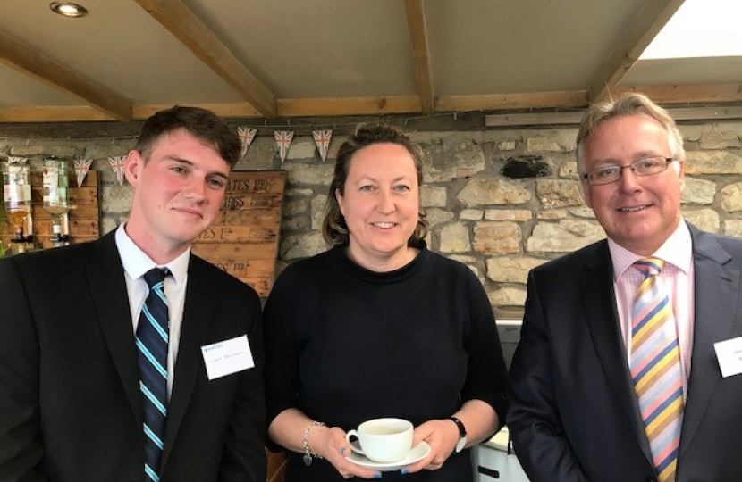 Anne-Marie with (left) Liam Brittain Barclays Agricultural Apprentice and John Pinches Agricultural Regional Director