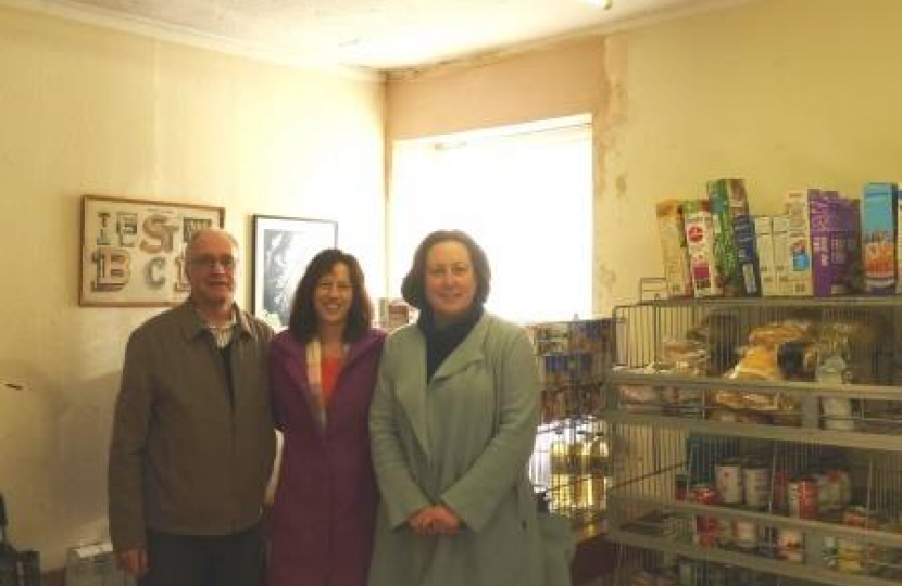 Anne-Marie Trevelyan at Amble Food Bank with Alan Rapley