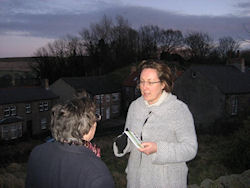 Anne-Marie speaks to residents in front of Tory Hill in Wooler
